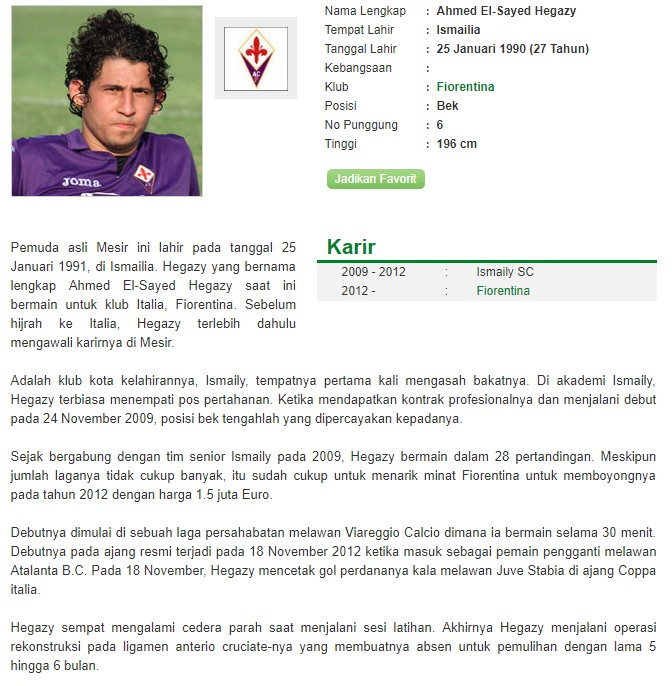 Profil Ahmed El-Sayed Hegazy Bandar Bola Piala Dunia 2018