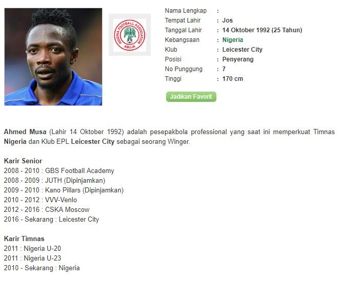 Profil Ahmed Musa Bandar Bola Piala Dunia 2018